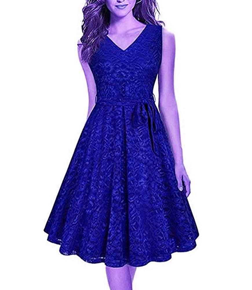 Sapphire Aiyue Yishen V Neck Sleeveless Knee Length Ruffles Junior Homecoming Dress