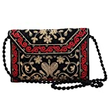 Jwellmart Indian Handicraft Ethnic Traditional Embroidered Evening Clutch Foldover Purse Handbag (Black)