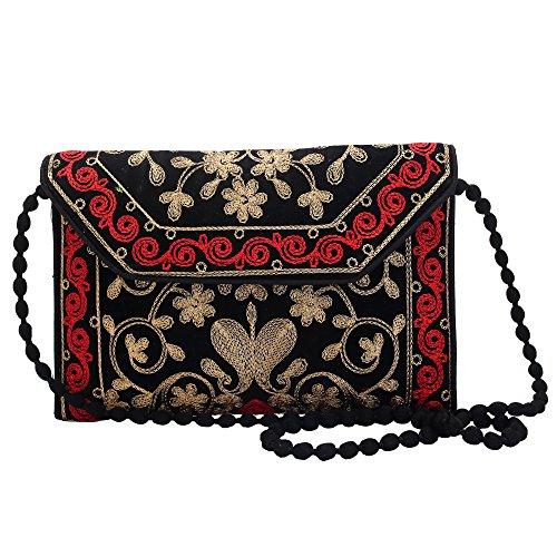 Jwellmart Indian Handicraft Ethnic Traditional Embroidered Evening Clutch Foldover Purse Handbag (Black) by Jwellmart