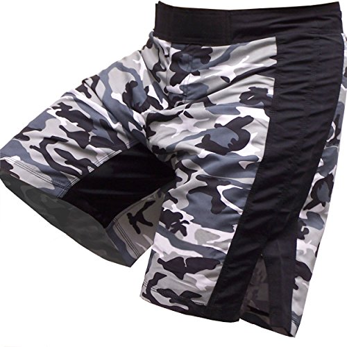 Super Slim Cut Camo MMA Grappling Board Shorts for BJJ and Fighting and Sparring #8, Medium