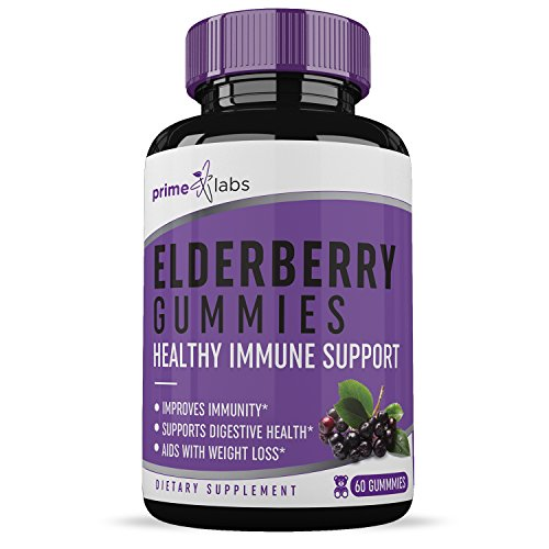 Elderberry Gummies (60 Pieces) - Premium Formula - All-Natural Ingredients - Immune & Digestive Booster - Detoxify Your Body - One Month Supply - Prime Labs