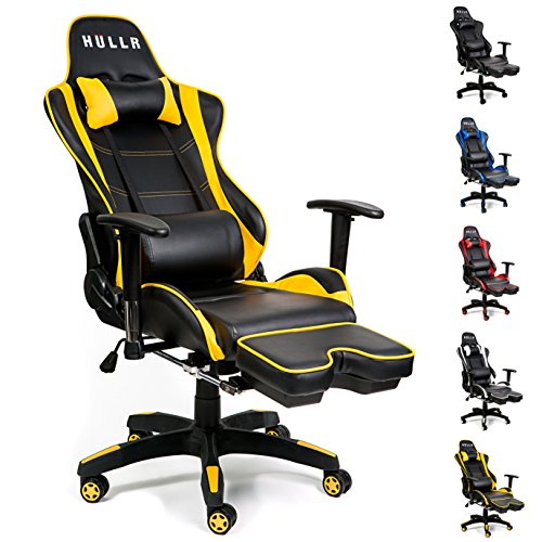 HULLR Gaming Racing Computer Office Chair With Foot Rest, Executive High Back Ergonomic Reclining Design With Detachable Lumbar Backrest & Headrest (PC PS4 XBOX Laptop) (Black/Yellow) HÜLLR