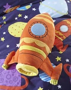 Catherine Lansfield Kids - Cojín con forma de cohete espacial, color naranja