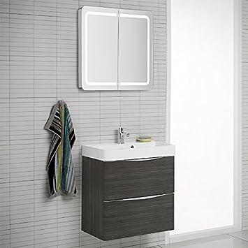 Design Badezimmer Set Hacienda braun Spiegelschrank Waschplatz ...