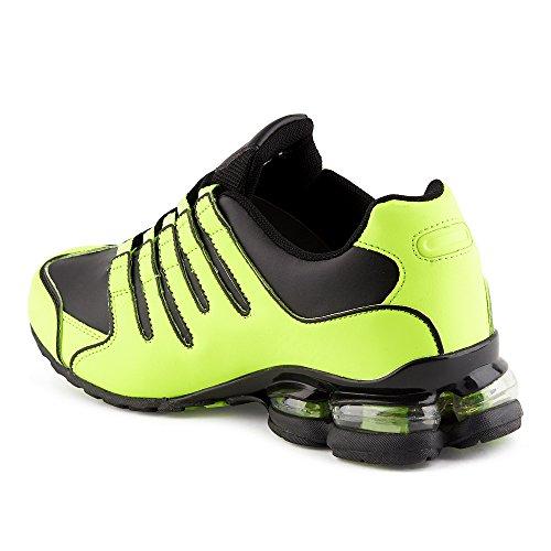Fusskleidung Herren Damen Sneaker Sportschuhe Lauf Freizeit Neon Runners Fitness Low Unisex Schuhe Grün/Blau-M