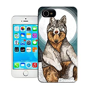 Protective Hard Tpu Case With Texture For iphone4 4s Wolf With The Moon
