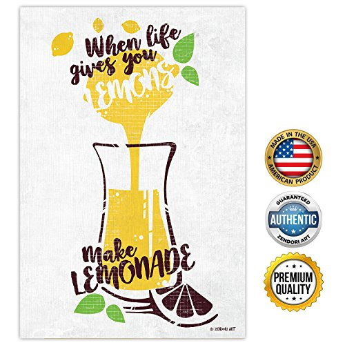 Zendori Art When Life Gives You Lemons Inspirational Quotes Poster   Motivational Wall Art Sayings For Kitchen  Print On Canvas Paper  12 X18