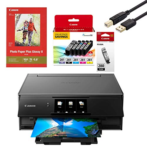 Canon Wireless Pixma TS9120 Inkjet All-in-one Printer with Scanner, Copier, Mobile Printing, Airprint and Google Cloud + Set of Ink, Photo Paper Sample and Printer Cable