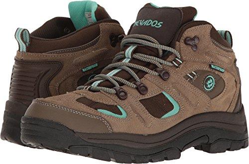 Nevados Women's Klondike Mid Waterproof Hiking Boot,Shiitake Brown/Dark Chestnut/Vivid Aqua,7.5 M US (Best Women Hiking Boot)