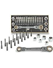 EZARC 23-teilig Steckschlüssel und Bitsatz mit 72-Zähne Flexibel Ratschenköpfe inkl. Steckschlüssel-Adapter, Metrisch Werkzeug Set 6-19mm