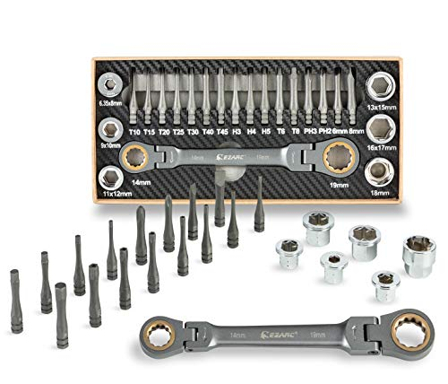 EZARC Ratchet Wrench 6-19mm 23PC Flex-Head Multi-Functional Ratcheting Box Wrench with Adaptor Socket Insert S2 Screwdriver Bit Set (Vortex Bit Socket Set)