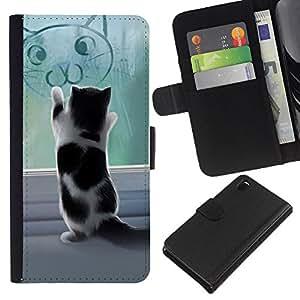 KLONGSHOP // Tirón de la caja Cartera de cuero con ranuras para tarjetas - Lindo gatito jugando - Sony Xperia Z3 D6603 //
