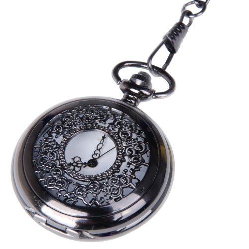 Pocket Watch Black Case White Dial with Chain Half Hunter Neo Vintage Steampunk Design Cosplay PW-22 by ShoppeWatch