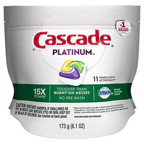 Amazon.com: CASCADE Platinum Actionpacs Lemon Scent Dishwasher Detergent, 11 Count: Health & Personal Care