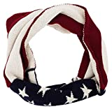 Child Baby Knit Infinity Circle Scarf US American Flag Winter Thick Scarf,White Red_Child