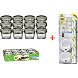 Ball 4-Ounce Quilted Crystal Jelly Jars with Lids and Bands, Set of 12, + Sip and Straw Lids