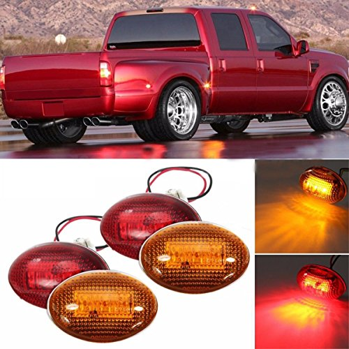 Simply Silver - LED Light Fender - for 1999-2010 Ford F350 Amber/Red Side Fender Marker Dually Bed LED Light Kit FL by Simply Silver