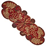 Cotton Craft - Beaded Table Runner - Scrolling Leaves - Burgundy Gold - 13x36 - Hand Made by Skilled Artisans - A Beautiful Complement to Your Dinner Table Décor - Spot Clean Only