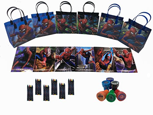 Marvel Spider Man party favor set pack w/coloring book (Spiderman Party Favors)