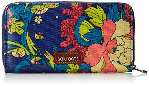 Sakroots Artist Circle Large Wallet Bifold, Royal Flower Power, One Size