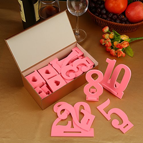Furniture Life 1 to 20 Wooden Table Numbers with Sturdy Holder Base for Wedding, Party, Events or Catering Decoration by Furniture Life