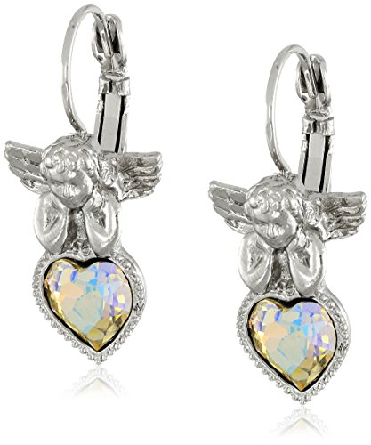 Symbols of Faith Inspirations Silver-Tone Crystal Ab Heart Angel Earrings