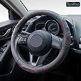 15 inch ford van hubcaps - TanYoo Luxury Genuine Leather Car Steering Wheel Covers, Universal Anti-slip Embossing Design, Breathable Shockproof Steering Wheel Covers, 15 inch