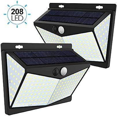 JIMS STORE Lámpara Solar 2 Pack Luz Solar Exterior 208LED con ...