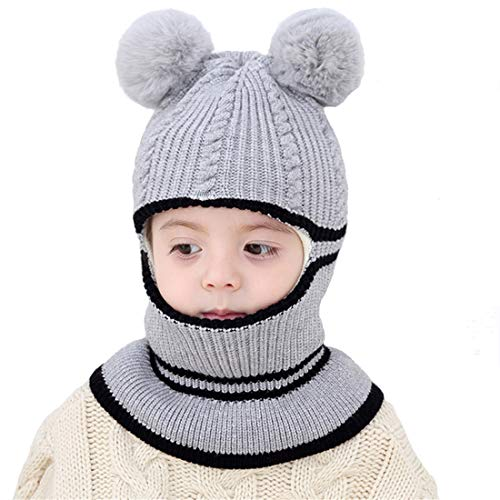 - Kids Winter Hat, Baby Knit Hat, Baby Girls Boys Winter Hat, Thick Scarf Earflap Hood Scarves Skull Caps, 1-5 Years Kids (Grey)
