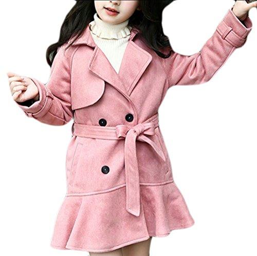 ouxiuli Little Girls Fashion Long Sleeve Pea Trench Coat Pink 7T