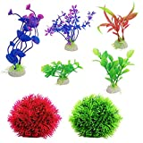 2 Pack Fake Marimo Moss Balls and 5 Pack Artificial Aquarium Plants, DaKuan Fish Tank Decorations Home Décor Plastic Assorted Color