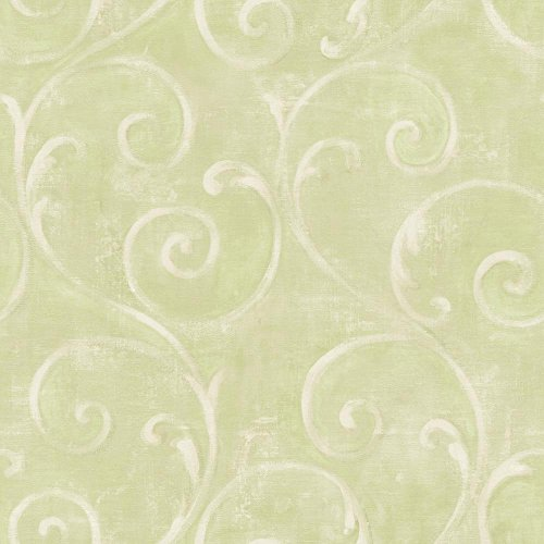 York Wallcoverings American Classics Textured Scroll Wallpaper Memo Sample, 8 by 10-Inch, Cream, Kiwi, New Sprout Green ()