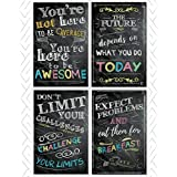 """Motivational Inspirational Wall Art Classroom Posters Decorations – Multicolor Chalkboard Positive Quotes, Perfect for Office, Kids Room or Bathroom Art. Great Thanksgiving Gifts. Set of 4 11x17"""""""