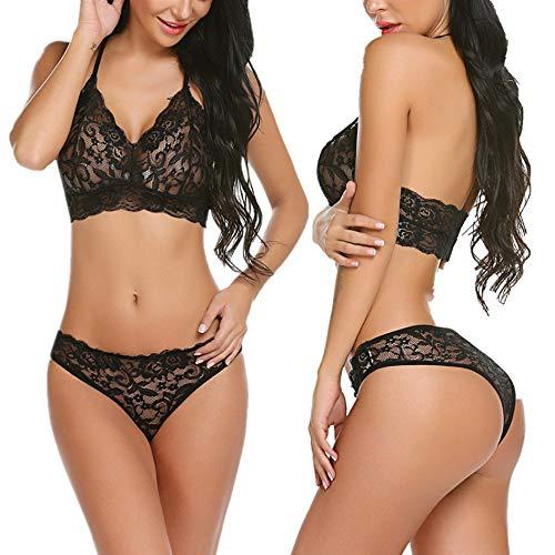 wearella Womens Lace Lingerie Bra and Panty Set Halter Babydoll V Neck Bodysuit