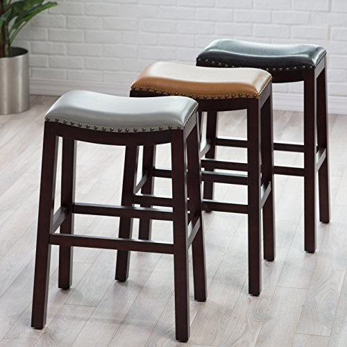Belham Living Hutton Leather Backless Saddle Counter Stool: Belham Living Hutton Backless Bar Stool Furniture Chairs