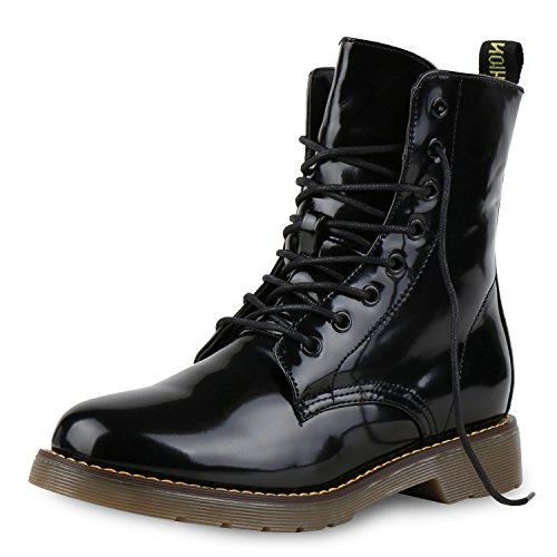 napoli-fashion Damen Stiefeletten Worker Boots Lack Profilsohle Boots Schuhe Jennika Schwarz Lack Black Nero Noir