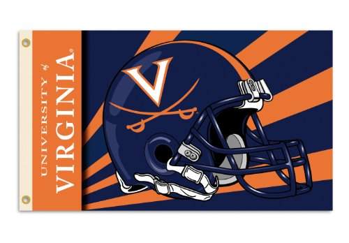 NCAA Virginia Cavaliers 3-by-5 Foot Flag with Grommets - Helmet Design