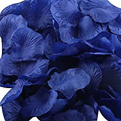 LEFV™ 1000pcs Silk Rose Petals Artificial Flower Wedding Party Vase Decor Bridal Shower Favor Centerpieces Confetti Decorations (40 Colors for Choice)- Dark Blue