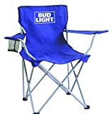 Bud Light collapsible tailgate chair with mesh cup holder/carry bag/steel frame, Blue, One Size