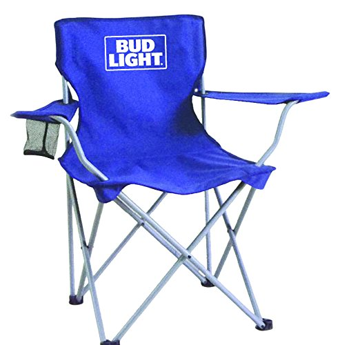 Bud Light collapsible tailgate chair with mesh cup holder/carry bag/steel frame, Blue, One Size by Bud Light
