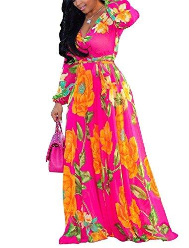Hestenve Womens V Neck Chiffon Long Sleeve Floral Printed Long Maxi Dress Orange