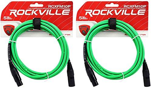 2 Rockville RCXFM10P-G Green 10' Female to Male REAN XLR Mic Cable 100% Copper (Male 10' Green)