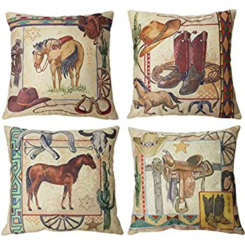 ULOVE LOVE YOURSELF Vintage Western Cowboy Throw Pillow Covers West Rodeo Riding Bull Wooden Decorative Pillow Cases Home Decor Square Pillowcases 18x18Inches,4Pack