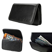 [GALAXY S5 active S6 active S7 active] XXL Wallet ID Pouch Leather Flap Carrying Case Belt Loops Holster [Fits OTTERBOX Defender Commuter Symmetry/UAG/MOPHIE JUICE PACK case on] (Smooth Wallet Pouch)