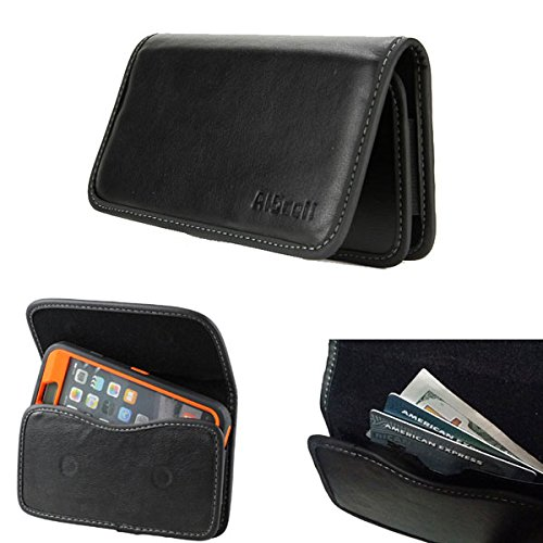 iPhone SE 5S 5C 5 Wallet Pouch Clip Holster Premium Faux Leather Sleeve ID Card Holder w/ Belt Loop [Fits iPhone+OtterBox Defender/Commuter/Symmetry/Resurgence Power Case On] (Smooth Wallet Pouch)
