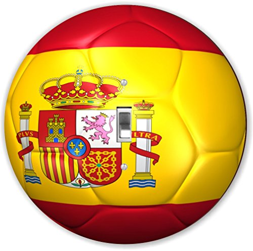Rikki Knight RND-LSPS-67 Spain Team World Cup Flag Soccer Ball Football Round - Single Toggle Light Switch Plate by Rikki Knight