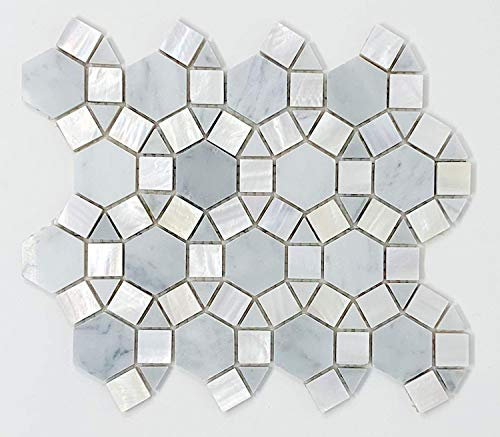 - Carrara Waterjet Marble with Mix Circulos Pallas Mother of Pearl Tiles On Mosaic Sheet (Pack of 5 sheets)