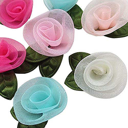 (Organza Ribbon Flowers Bows Rose W/ Green Leaf Appliques Craft Mix)