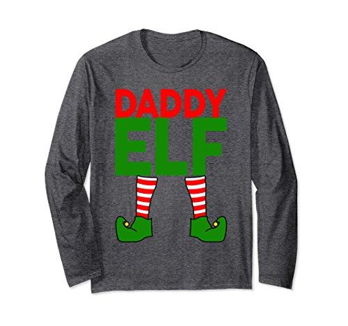 Unisex Daddy ELF Funny Christmas Long Sleeve T-Shirt XL: Dark Heather from Elf Family Christmas Costume Shirts 360