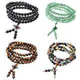Zysta Men's Women 8mm Natural Gemstone 108 Beads Bracelet Link Wrist Necklace Chain Tibetan Buddhist Beads Paryer Buddha Mala Elastic Cuff